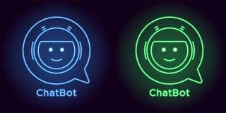 Bot de néon do bate-papo na cor azul e verde ilustração do vetor