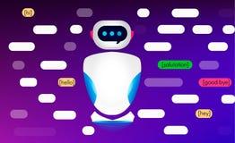 Bot di chiacchierata, assistenza virtuale del robot Le caratteristiche e le funzioni degli algoritmi di intelligenza artificiale  Immagine Stock Libera da Diritti