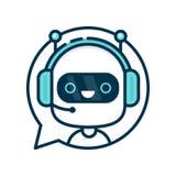 Bot divertido sonriente lindo de la charla del robot stock de ilustración