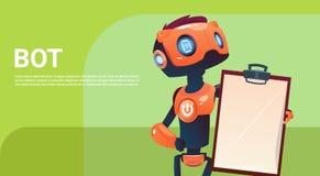 Bot do bate-papo, elemento virtual do auxílio do robô do Web site ou aplicações móveis, conceito da inteligência artificial ilustração royalty free
