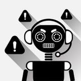 Bot do bate-papo do preto do conceito do ícone do erro de Chatbot ou serviço de Chatterbot da tecnologia em linha do apoio Fotos de Stock