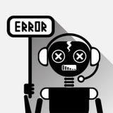Bot do bate-papo do preto do conceito do ícone do erro de Chatbot ou serviço de Chatterbot da tecnologia em linha do apoio Fotografia de Stock Royalty Free