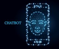 Chatbot, mobile app, blue 2. Bot icon, wireframe polygon concept. Chatbot icon mobile app. Abstract vector illustration with polygon, line, connecting dots royalty free illustration