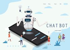 Bot isométrico de la charla de la ciencia, concepto del smartphone La inteligencia artificial, inteligencia de la experiencia del libre illustration