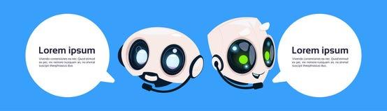 Bot ou Chatbot de broutement de robot sur le fond bleu avec l'espace de copie illustration de vecteur