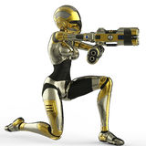 Bot soldier pointing a gun side view Royalty Free Stock Photography