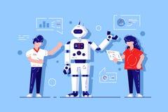 Bot tornando-se do bate-papo do homem e da mulher ilustração royalty free