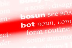 Bot. Word in a dictionary.  concept Stock Images