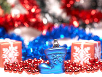 Bota azul para la Navidad Imagenes de archivo