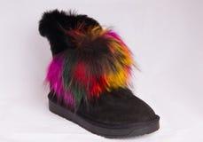 Bota cor-de-rosa-amarela da mulher da pele dos calçados imagens de stock