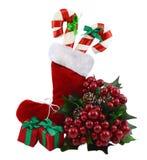 Bota de la Navidad con las decoraciones Foto de archivo libre de regalías