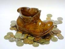 Bota del duende con las monedas Fotografía de archivo libre de regalías