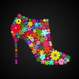 Bota floral do tornozelo do mosaico em cores diferentes Fotografia de Stock