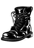 Bota preta do exército Foto de Stock