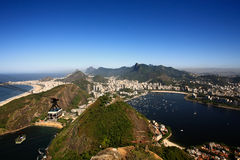 Botafogo. Aerial view of botafogo and copacabana with the from the sugar loaf in rio de janeiro brazil stock photo