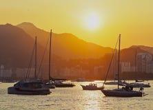 Botafogo Bay in Rio de Janeiro. Brazil, City of Rio de Janeiro, Sunset over Botafogo Bay viewed from Urca stock photo