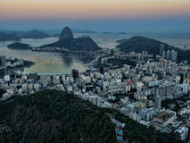 Botafogo bay at sunset. The bay of Botafogo in Rio de Janeiro at sunset Stock Photo