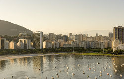 Botafogo beach and cove. Boats moored in Botafogo cove with buildings in the background Stock Image