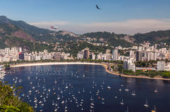 Botafogo Beach and Guanabara bay, Rio de Janeiro, Brazil. Rio de Janeiro, Brazil, Botafogo Beach. View from Sugarloaf Mountain Stock Image