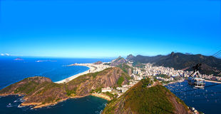 Botafogo and copacabana. Aerial view of botafogo and copacabana with the from the sugar loaf in rio de janeiro brazil stock photos