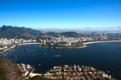 Botafogo and flamengo. Aerial view of botafogo from the sugar loaf in rio de janeiro brazil royalty free stock image