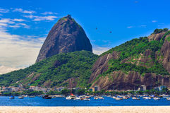 Botafogo and mountain Sugar Loaf and Urca in Rio de Janeiro Royalty Free Stock Image
