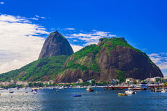 Botafogo and mountain Sugar Loaf and Urca in Rio de Janeiro Royalty Free Stock Photo