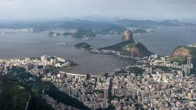 Botafogo and mt sugarloaf from corcodova in rio. Afternoon shot of botafogo and mt sugarloaf from christ the redeemer in rio de janeiro, brazil royalty free stock photos