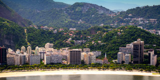 Botafogo neighborhood. Aerial view of buildings on the beach front, Botafogo, Guanabara Bay, Rio De Janeiro, Brazil royalty free stock images