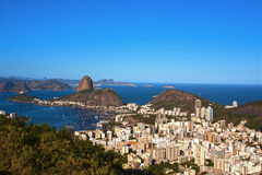 Botafogo and the sugar loaf. Aerial view of botafogo and the sugarloaf in rio de janeiro brazil royalty free stock image