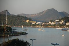 Botafogostrand en Urca-achtergrond Royalty-vrije Stock Foto