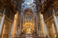 Botafumeiro and altar wide angle Stock Images