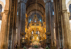 Botafumeiro and altar wide angle Royalty Free Stock Photography