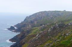Botallack min och kustlinje, St precis, Cornwall Arkivbilder