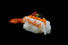 Botan ebi sushi or Spacial premium king shrimp sushi mixed by ikura and caviar top on Japanese rice. Japanese tradition food. With black isolated background Royalty Free Stock Photo