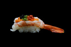 Botan ebi sushi or Spacial premium king shrimp sushi mixed by ikura and caviar top on Japanese rice. Japanese tradition food Royalty Free Stock Images