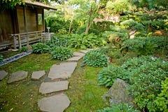 Botanic garden. Empty path in beautiful botanic garden Stock Photography