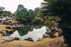Ancient Japanese gardens at Kyoto`s Nijo Castle royalty free stock photo
