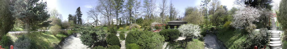 Botanic garden, 360 degrees panorama. A 360 degrees panorama of Japanese section of Cluj Napoca botanic garden, Romania stock photos