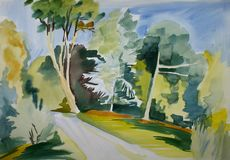 Botanic garden scene. Botanic garden dublin alleys drawn by hand with watercolours Royalty Free Stock Images