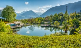 The Botanic Gardens of Trauttmansdorff Castle, Merano, south tyrol, Italy, offer many attractions with botani Royalty Free Stock Images