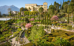 The Botanic Gardens of Trauttmansdorff Castle, Merano, south tyrol, Italy,. Offer many attractions with botanical species and varieties of plants from all over royalty free stock photo