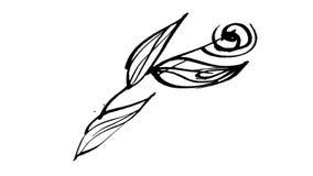 Botanica animata del disegno dell'inchiostro di calligrafia royalty illustrazione gratis