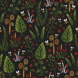 Botanica dark - seamless stylized colored pattern texture element of plants, mushrooms and insects. Botanica dark - seamless stylized colored pattern texture Royalty Free Stock Photo