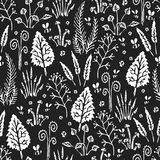 Botanica dark - seamless stylized monochrome white pattern texture element of plants, mushrooms and insects on dark background royalty free illustration