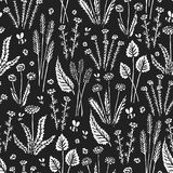 Botanica floral dark - seamless stylized monochrome white pattern texture element of plants, flowers and insects on dark backgroun vector illustration