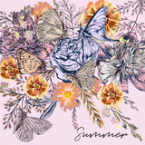 Botanical background with roses, field flowers and butterflies. In vintage style Stock Images