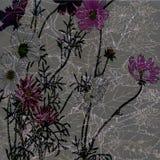 Botanical Batik Floral Design Stock Images