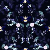 Botanical blooming garden night flowers unfinished line drawing with bees seamless pattern vector design for fashion,fabric,. Wallpaper,and all prints on navy stock illustration