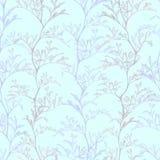 Botanical blue seamless pattern with grass plants stock illustration